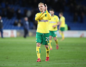 1st December 2017, Cardiff City Stadium, Cardiff, Wales; EFL Championship Football, Cardiff City versus Norwich City; Alex Pritchard of Norwich City applauds the traveling fans after the final whistle