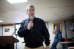Captain James Ware, Commanding Officer of the the USNS Comfort, a naval hospital ship, talks to sailors before their mission to help survivors of the earthquake in Haiti on Friday, January 15, 2010 in Baltimore, MD.