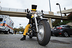 The Wake Forest Demon Deacons mascot prepares to lead the team onto the field on his motorcycle prior to the game against the Louisville Cardinals at BB&T Field on October 28, 2017 in Winston-Salem, North Carolina.  The Demon Deacons defeated the Cardinals 42-32.  (Brian Westerholt/Sports On Film)