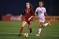 San Diego, CA - Sunday January 21, 2018: Tierna Davidson, Frederikke Thøgersen prior to an international friendly between the women's national teams of the United States (USA) and Denmark (DEN) at SDCCU Stadium.