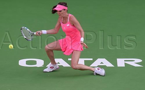 23.02.2016. Doha, Qatar. Qatar Total Open championships.  Agnieszka Radwanska of Poland competes during her womens singles second round match against Kateryna Bondarenko of Ukraine at the WTA Tennis Damen Qatar Open 2016 in Doha, Qatar, Feb. 23, 2016. Radwanska won 2-0.