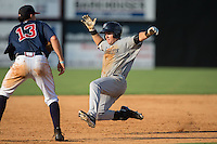 Tim Lynch (62) of the Pulaski Yankees slides into third base after hitting a triple during the game against the Danville Braves at American Legion Post 325 Field on July 31, 2016 in Danville, Virginia.  The Yankees defeated the Braves 8-3.  (Brian Westerholt/Four Seam Images)