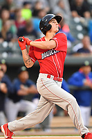 Center fielder Mickey Moniak (22) of the Lakewood BlueClaws bats in a game against the Columbia Fireflies on Saturday, May 6, 2017, at Spirit Communications Park in Columbia, South Carolina. Lakewood won, 1-0. (Tom Priddy/Four Seam Images)
