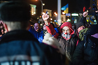 Protesters seen during the protest in the European square in Kiev. Ukraine Thousands of people are continuing to express their support to european integration and protesting against decision of Ukrainian government to refuse signing of association with EU in Vilnius.