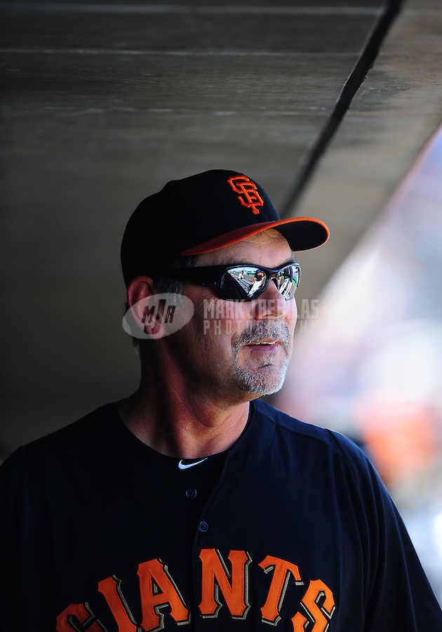 Mar. 28, 2012; Scottsdale, AZ, USA; San Francisco Giants manager Bruce Bochy in the fourth inning against the Los Angeles Dodgers at Scottsdale Stadium.  Mandatory Credit: Mark J. Rebilas-