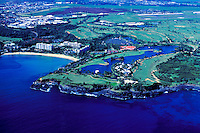 Aerial of the Marriott Hotel and golf course on Kalapaki bay, Kauai