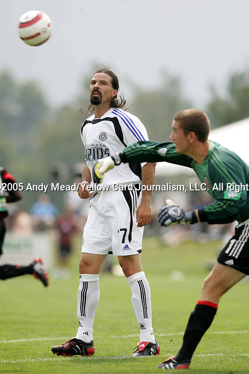 Marcelo Balboa (17), 2005 inductee and guest player for Colorado, watches DC goalkeeper Troy Perkins (1) throw the ball back up the field on Monday, August 29, 2005, in the Hall of Fame game played after the 2005 National Soccer Hall of Fame Induction Ceremony in Oneonta, New York. The Colorado Rapids defeated DC United 6-2.