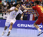 13.01.2013 Granollers, Spain. IHF men's world championship, prelimanary round. Picture show Timothey Nguessan   in action during game between France vs Montenegro at Palau d'esports de Granollers