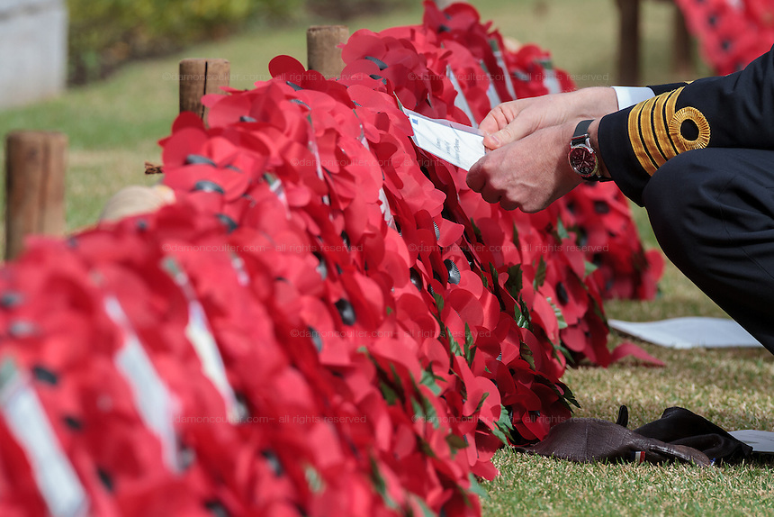 Captain Willem Vermeule, the Dutch Defence Attaché to Japan.lays a wreath of poppies during the Remembrance Day ceremonies at the Commonwealth War Cemetery in Hodogaya, Yokohama, Japan. Wednesday November 11th 2015