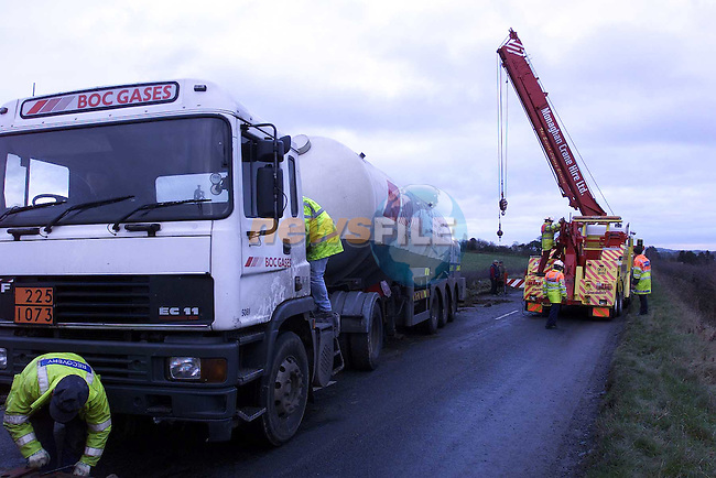 The BOC Gases tanker that overturned last Wednesday morning on the Dunleer Collon road..Pic Fran Caffrey Newsfile
