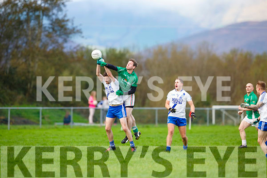 Mike Burke Milltown Castlemaine punches the kick out during their relegation playoff in Glenbeigh on Sunday