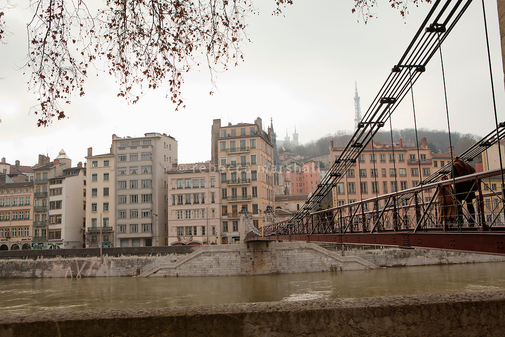 The St-Vincent footbridge leading to Vieux Lyon over the Saone river, Lyon, France, 15 January 2012