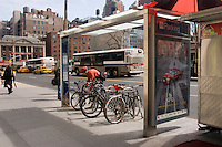 New York, NY 8 April 2008 Bicycle Parking - Bicycle commuter parks his bike at the Union Square Bicycle Shelter. The shelters accomodate eitht bikes and were created by Cemusa, a Spanish design firm that is also building bus stands and public toilets for the city.