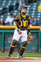 Juan Graterol (34) of the Salt Lake Bees on defense against the Tacoma Rainiers in Pacific Coast League action at Smith's Ballpark on June 13, 2016 in Salt Lake City, Utah. The Rainiers defeated the Bees 3-1.  (Stephen Smith/Four Seam Images)
