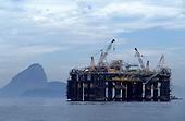 Rio de Janeiro, Brazil. Petrobras oil rig being refurbished in Guanabara bay.