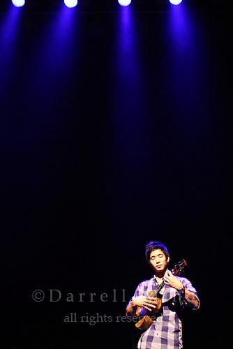 """Aug. 14, 2010 ; Osaka, JPN - Jake Shimabukuro during his sound check at Namba Hatch in Osaka. Opening night for the """"I Love Ukulele Tour 2010""""."""
