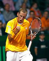 18-9-09, Netherlands,  Maastricht, Tennis, Daviscup Netherlands-France,   Thiemo de Bakker schreeuwt het uit in zijn partij tegen Monfils.