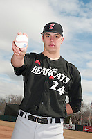 Cincinnati Bearcats pitcher Mitch Patishall (24) during 1st game of double header against the St. John's Redstorm at Jack Kaiser Stadium on March 28, 2013 in Queens, New York. St. John's defeated Cincinnati 6-5.      . (Tomasso DeRosa/ Four Seam Images)