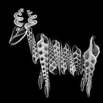 X-ray image of an antelope (white on black) by Jim Wehtje, specialist in x-ray art and design images.