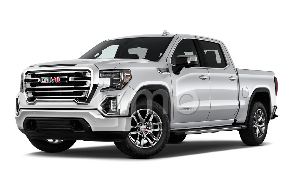 Stock pictures of low aggressive front three quarter view of a 2019 GMC Sierra 1500 SLT 4 Door Pick Up