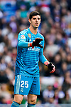 Goalkeeper Thibaut Courtois of Real Madrid reacts during the La Liga 2018-19 match between Real Madrid and Real Valladolid at Estadio Santiago Bernabeu on November 03 2018 in Madrid, Spain. Photo by Diego Souto / Power Sport Images