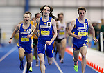 BROOKINGS, SD - FEBRUARY 25:  Joel Reichow from South Dakota State University leads a pair of teammates during the final lap of the men's mile run at the 2017 Summit League Indoor Track and Field Championship Saturday afternoon in Brookings, SD. (Photo by Dave Eggen/Inertia)