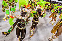 Samba school dancers perform during the Carnival Access Group parade at the Sambadrome in Rio de Janeiro, Brazil, 19 February 2012. The Carnival in Rio de Janeiro, considered the biggest carnival in the world, is a colorful, four day celebration, taking place every year forty days before Easter. The Samba school parades, featuring thousands of dancers, imaginative costumes and elaborate floats, are held on the Sambadrome, a purpose-built stadium in downtown Rio. According to costumes, flow, theme, band music quality and performance, a single school is declared the winner of the competition.