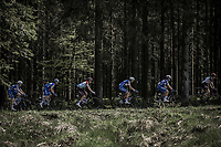 Peloton with Luxembourg National Champ and later race winner Bob Jungels (LUX/Quick Step Floors) through the forest of the Baraque Fraiture. <br /> <br /> <br /> 104th Liège - Bastogne - Liège 2018 (1.UWT)<br /> 1 Day Race: Liège - Ans (258km)