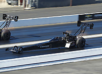 Nov 16, 2019; Pomona, CA, USA; NHRA top fuel driver Mike Salinas during qualifying for the Auto Club Finals at Auto Club Raceway at Pomona. Mandatory Credit: Mark J. Rebilas-USA TODAY Sports