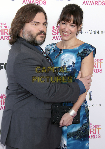 Jack Black, Tanya Haden.2013 Film Independent Spirit Awards - Arrivals Held At Santa Monica Beach, Santa Monica, California, USA,.23rd February 2013..indy indie indies indys half length blue print dress side funny blue shirt paisley tie grey gray suit beard facial hair arms around.CAP/ADM/RE.©Russ Elliot/AdMedia/Capital Pictures