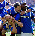 Steven Naismith celebrates his opening goal against Celtic. I think he likes it as he pulls a face to the away support.