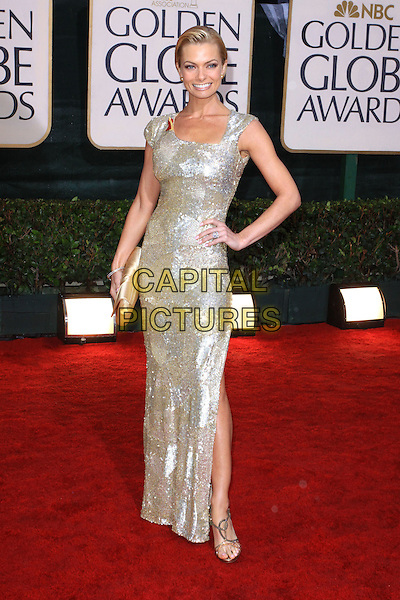 JAIME PRESSLY .67th Golden Globe Awards held Beverly Hilton, Beverly Hills, California.17th January 2010..arrivals globes full length jamie gold dress hand on hip sequined sequin slit split sandals clutch bag .CAP/ADM/KB.©Kevan Brooks/Admedia/Capital Pictures