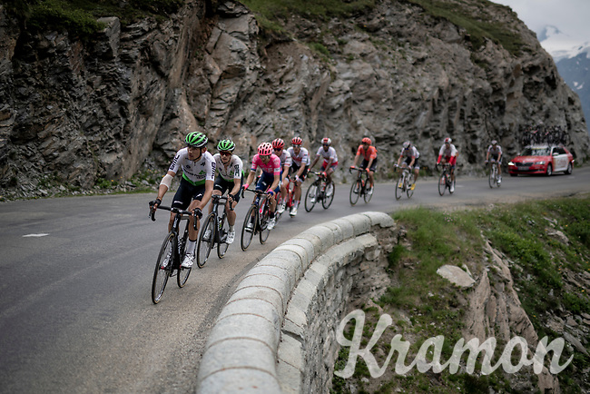 Roman Kreuziger (CZE/Dimension Data) leading a small group up the Col de l'Iseran (HC/2751m/13km@7.3%) <br /> > where the race was eventually stopped (at the top) because of landslides further up the road (after a severe hail storm in Tignes)<br /> <br /> Stage 19: Saint-Jean-de-Maurienne to Tignes (126km)<br /> 106th Tour de France 2019 (2.UWT)<br /> <br /> ©kramon