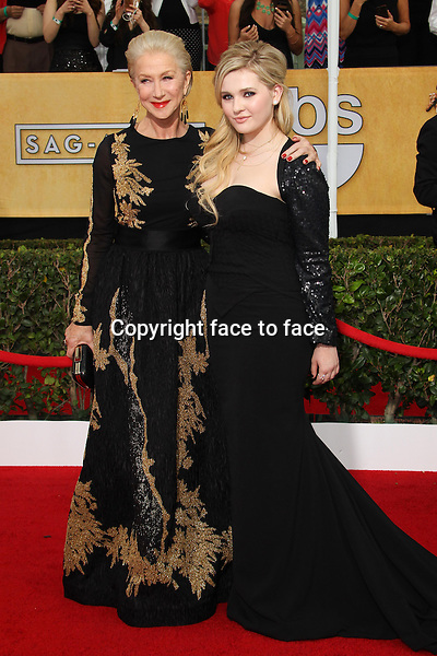 LOS ANGELES, CA - JANUARY 18: Helen Mirren, Abigail Breslin attending the 2014 SAG Awards in Los Angeles, California on January 18, 2014.<br /> Credit: RTNUPA/MediaPunch<br /> Credit: MediaPunch/face to face<br /> - Germany, Austria, Switzerland, Eastern Europe, Australia, UK, USA, Taiwan, Singapore, China, Malaysia, Thailand, Sweden, Estonia, Latvia and Lithuania rights only -