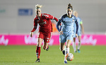 Tessel Middag of Manchester City Women and Julie Tavio-Petersson of Brondby IF during the Women's Champions League last 16 tie, first leg between Manchester City Women and Brondby IF at the Academy Stadium. <br /> <br /> Photo credit should read: Lynne Cameron/Sportimage