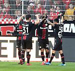 15.02.2020, Stadion an der Wuhlheide, Berlin, GER, 1.FBL, 1.FC UNION BERLIN  VS. Bayer Leverkusen, <br /> DFL  regulations prohibit any use of photographs as image sequences and/or quasi-video<br /> im Bild 2: 3 durch Karim Bellarabi (Bayer Leverkusen #38),<br /> Kevin Volland (Bayer Leverkusen #31), Charles Aranguiz (Bayer Leverkusen #20)<br /> <br /> <br />      <br /> Foto © nordphoto / Engler