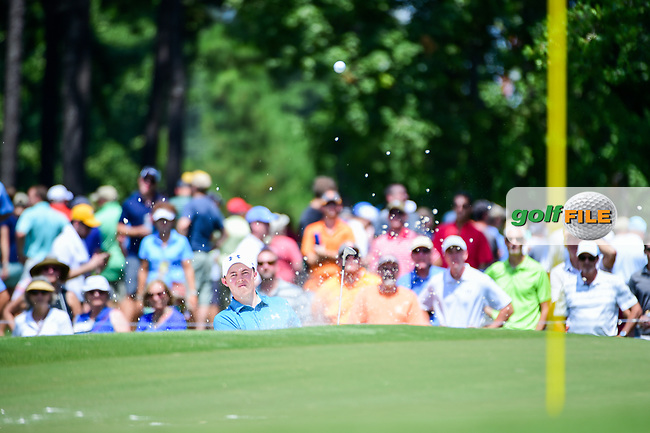Matt Fitzpatrick (ENG) hits from the trap on 4 during Thursday's round 1 of the PGA Championship at the Quail Hollow Club in Charlotte, North Carolina. 8/10/2017.<br /> Picture: Golffile | Ken Murray<br /> <br /> <br /> All photo usage must carry mandatory copyright credit (&copy; Golffile | Ken Murray)