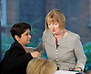 Harriet Harman <br /> speech on the Human Rights Act at Labour Party HQ, London, Great Britain <br /> 16th June 2015 <br /> <br /> Harriet Harman QC, MP <br /> acting Leader of the Labour Party <br /> greets Liberty's Shami Chakrabarti after speech <br /> <br /> <br /> Photograph by Elliott Franks <br /> Image licensed to Elliott Franks Photography Services