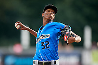 Akron RubberDucks starting pitcher Triston McKenzie (32) delivers a pitch during a game against the Harrisburg Senators on August 18, 2018 at FNB Field in Harrisburg, Pennsylvania.  Akron defeated Harrisburg 5-1.  (Mike Janes/Four Seam Images)