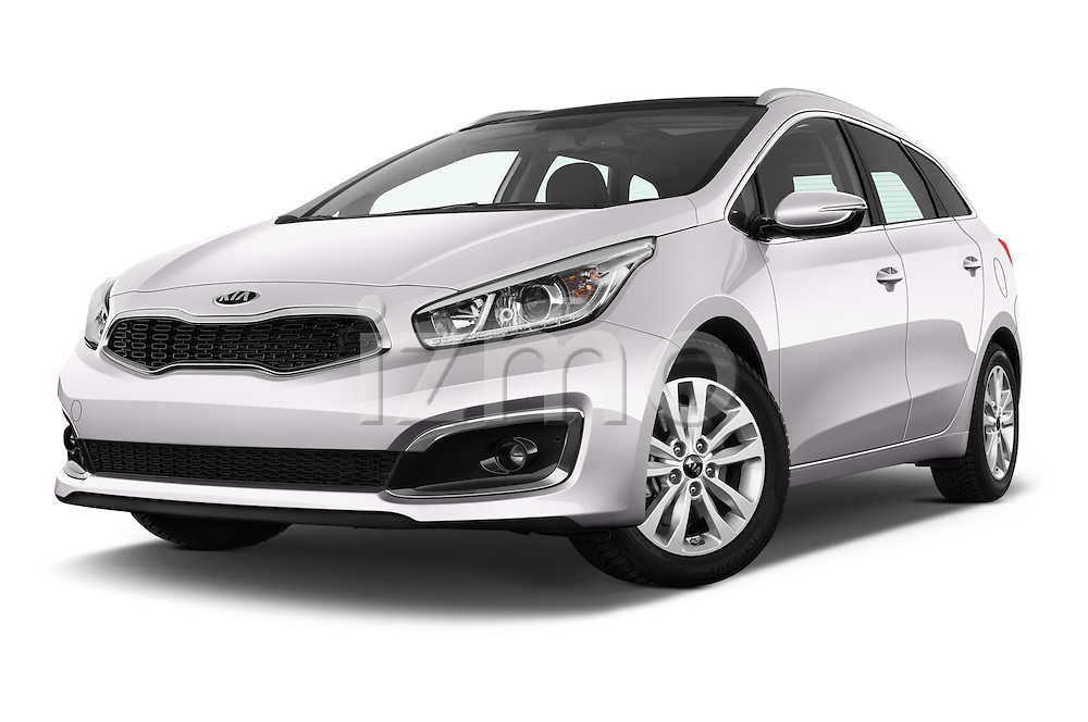 Stock pictures of low aggressive front three quarter view of 2016 KIA Ceed_SW 5 Door Wagon Low Aggressive