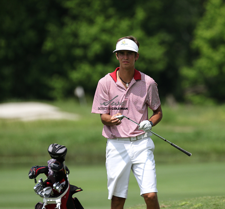 Langston James of Fredericksburg High School in first-round action at the UIL Class 4A state golf tournament at Austin's Onion Creek Golf Club on Monday, April 25, 2016.