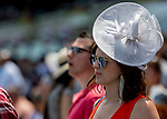 June 8, 2019 : A woman wears a white fascinator on Belmont Stakes Festival Saturday at Belmont Park in Elmont, New York. Scott Serio/Eclipse Sportswire/CSM
