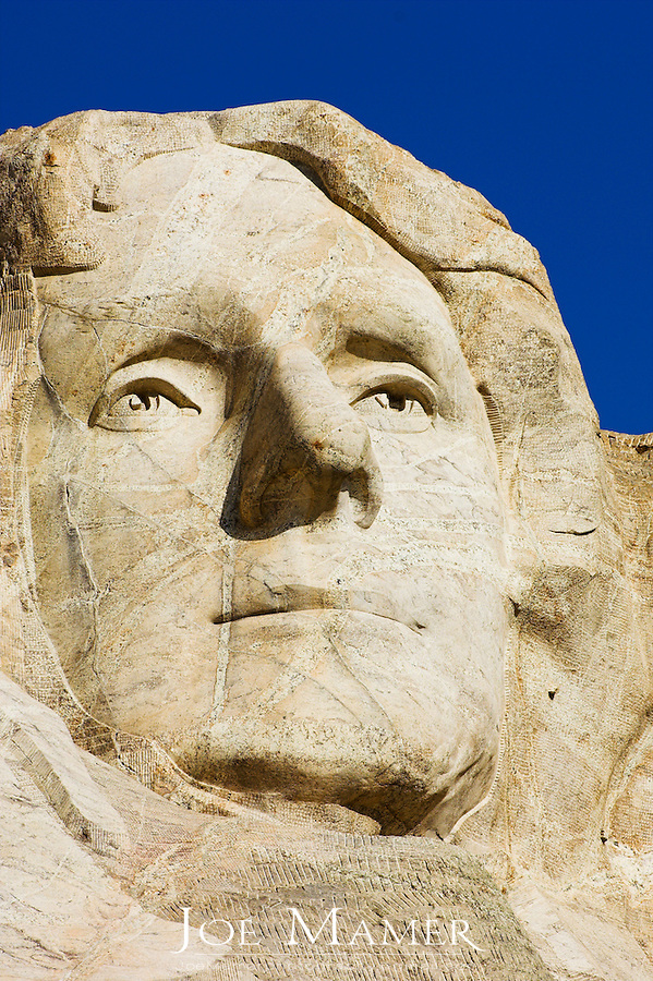 Close up view of Thomas Jefferson at Mount Rushmore National Memorial.