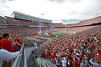 Ohio State Buckeyes enter the field for their game in Ohio Stadium against Hawaii at Ohio Stadium on September 12, 2015.  (Dispatch photo by Kyle Robertson)