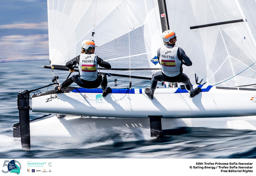 The Trofeo Princesa Sofia Iberostar celebrates this year its 50th anniversary in the elite of Olympic sailing in a record edition, to be held in Majorcan waters from 29th March to 6th April, organised by Club Nàutic S'Arenal, Club Marítimo San Antonio de la Playa, Real Club Náutico de Palma and the Balearic and Spanish federations. ©Jesus Renedo/SAILING ENERGY/50th Trofeo Princesa Sofia Iberostar<br /> 05 April, 2019.