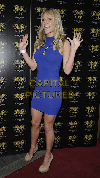 Chloe Madeley<br /> The Lipsy VIP Fashion Awards 2013, DSTRKT, Rupert St., London, England.<br /> May 29th, 2013<br /> full length blue sleeveless dress hands arms palms mouth open funny<br /> CAP/CAN<br /> &copy;Can Nguyen/Capital Pictures