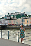Looking at the Hohensalzburg Fortress from across the Salzach River