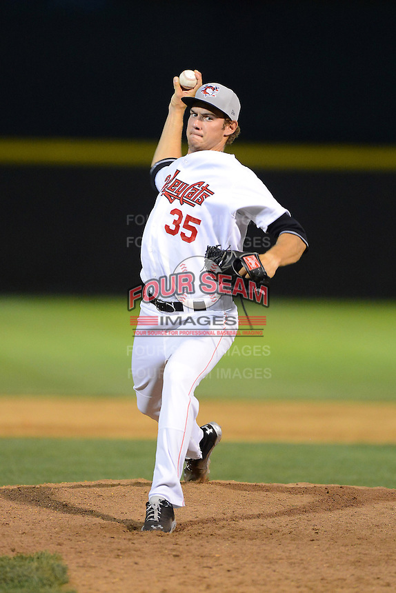 Tri-City ValleyCats pitcher Adrian Houser #35 during a game against the Lowell Spinners on July 5, 2013 at Joseph L. Bruno Stadium in Troy, New York.  Tri-City defeated Lowell 5-4.  (Mike Janes/Four Seam Images)