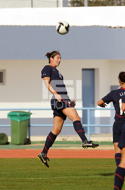 Yael Averbuch leaps high for a header. The USWNT defeated Iceland (2-0) at Vila Real Sto. Antonio in their opener of the 2010 Algarve Cup on February 24, 2010.
