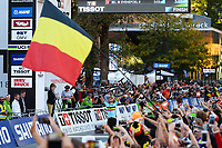 Picture by Richard Blaxall/SWpix.com - 27/09/2018 - Cycling 2018 Road Cycling World Championships Innsbruck-Tiriol, Austria - Men's Junior Road Race - Remco Evenepoel of Belgium celebrates.
